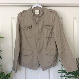 Olive & Oak Medium Taupe High Low Denim Jacket